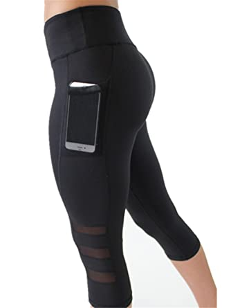 5fc12a2ba0e 3wmall High Waisted Leggings with Pockets for Women Workout with Mesh Capri  Gym Cropped Yoga Pants
