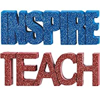 "Amscan Metallic Finish ""Inspire"" Or ""Teach"" Word Paper Weight Assortment Graduation Party Gift (Pack of 2), Multicolor, 2"" x 6"""