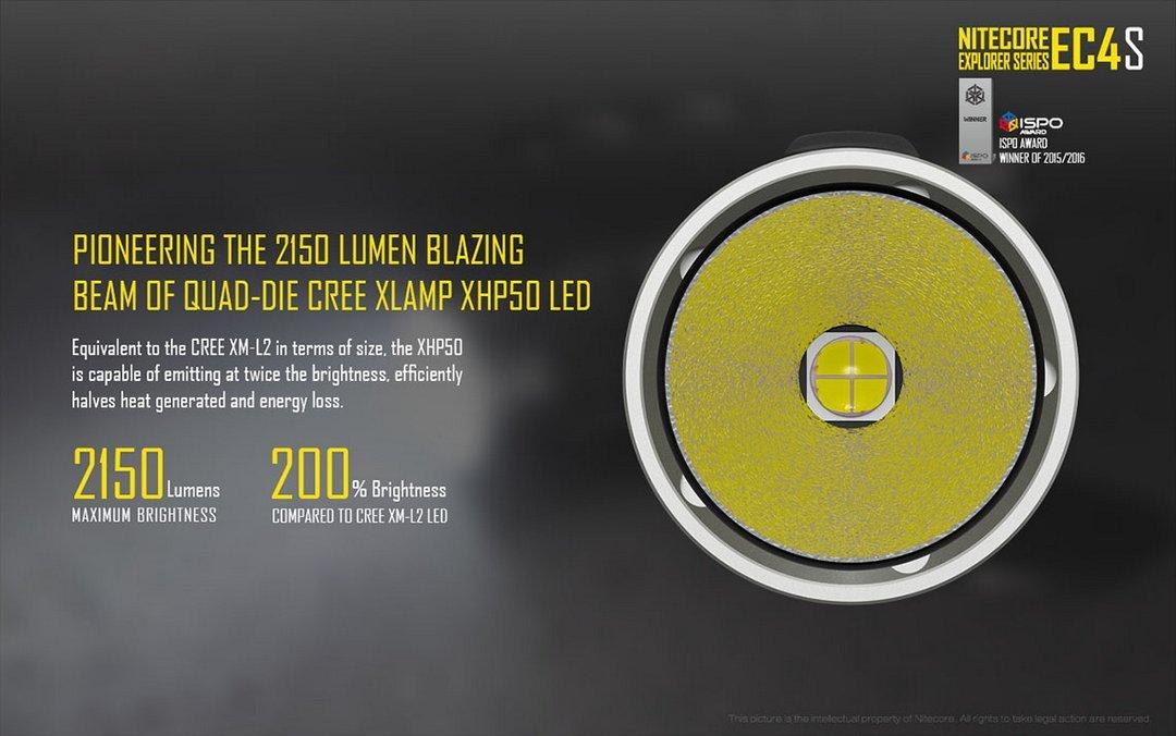 Bundle - 5 Items: NiteCore EC4S 2150 Lumens CREE XHP50 LED Flashlight with 2x Nitecore 18650 Rechargeable Batteries, Nitecore i2 Smart Charger and LumenTac Battery Organizer by Nitecore (Image #3)