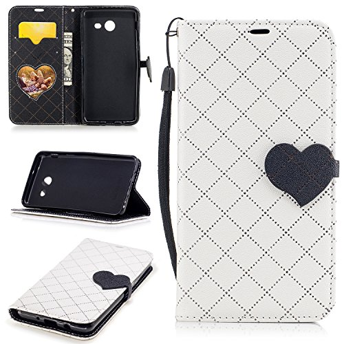 Galaxy J5 2017 Case, Easytop Love Heart Design Faux Leather Flip Credit Card Holder Wristlet Shockproof Protective Wallet Case for Samsung Galaxy J5 2017 (White)