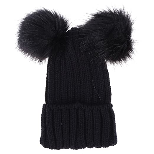 Everpert Women Fur Pompom Hat Women Winter Caps Knitted Wool Hats with Two  Pom Poms ( c0bd58b0b91