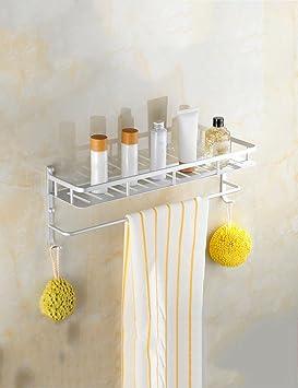 Baldas de baño Espacio Estantes de tocador de aluminio Estante de toallas Estante de 2 capas cosméticos Estantes de baño montados en la pared Estante de ...