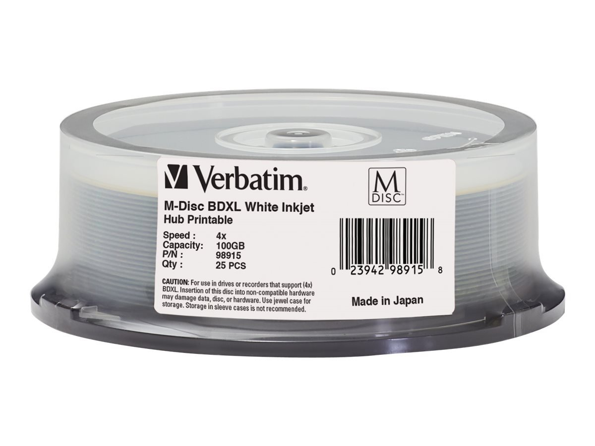 Verbatim M-Disc BD-R 100GB 4X White Inkjet Printable, Hub Printable - 25 Pack Spindle 98915