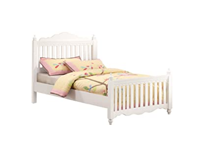 Furniture Of America Bethany Anne Picket Fence Style Bed For Children Twin White Finish
