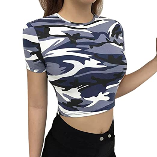 d3805818ed72 Amazon.com: Women Camo Crop Tops Short Sleeve Teen Girl Fashion Summer Sim T -Shirts Blouse Tee: Clothing