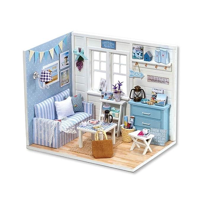 Casa de muñecas Mesa de café del sofá de la Sala de Estar de la ...