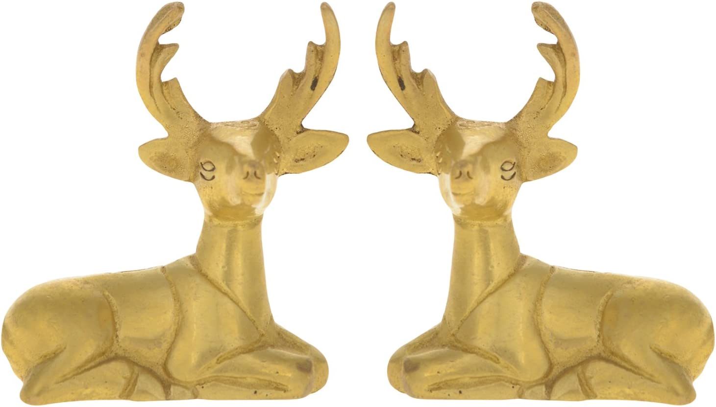 ITOS365 Showpiece Items for Home Decor Decoration Made of Brass Deer Statue in Pair Gift Ideas, Set of 2