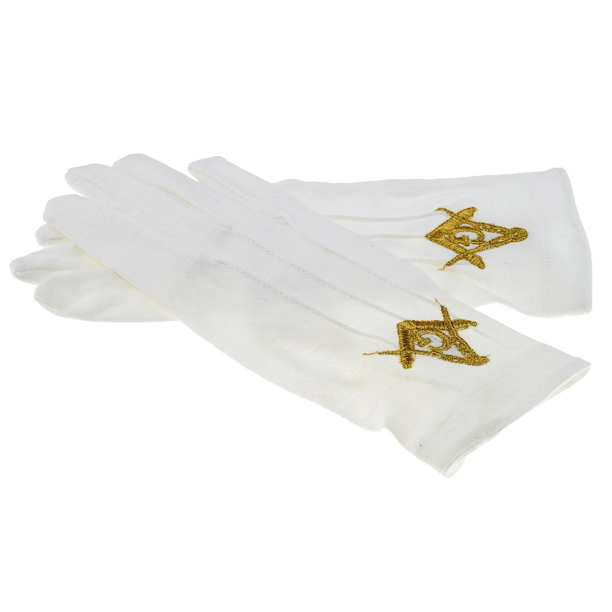 One Size White Cotton Gloves with Embroidered Gold with G Masonic Design XLFG013