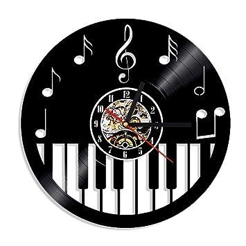 WALIZIWEI 1 Pieza Teclado de Piano CD CD Reloj de Pared Instrumento Musical Arte de La Pared Decoración para El Hogar Ecológico Vintage Regalo Hecho A Mano: ...