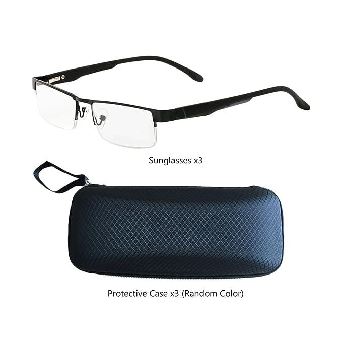 Zhuhaitf Men Women Reading Glasses Avec étui lunettes Metal Square Eyewear Unisex for Elderly Readers Choose Your Magnification 1.0 X 2.0 X 3.0 X 1vT6zRXdC