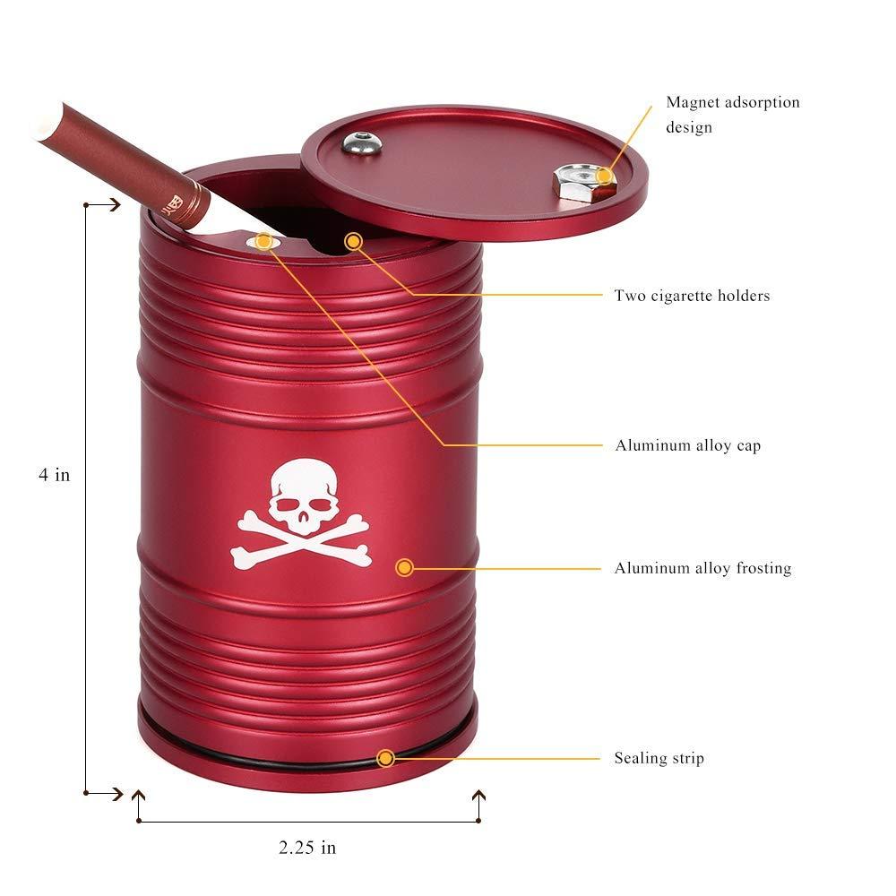 Liantra Cendrier portable avec couvercle en alliage daluminium en forme de tambour dhuile d/étachable haute temp/érature R/ésistance /à la temp/érature pour voiture Taille S Rouge