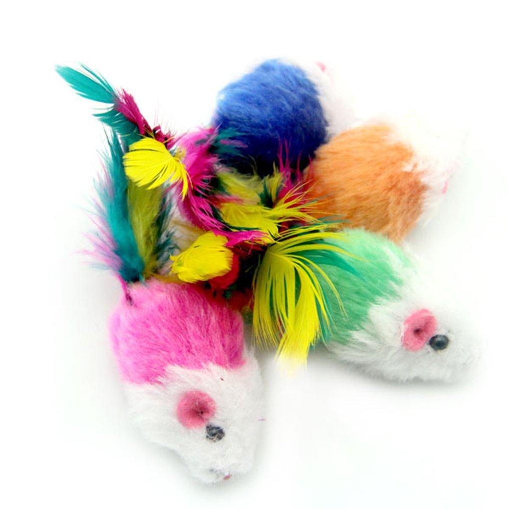 Fangfeen 10pcs formada rat/ón con los Juguetes 10pcs Coloridos Juguetes de rat/ón Pluma de la Cola Decoraci/ón Juguetes para Gatos aleatoria