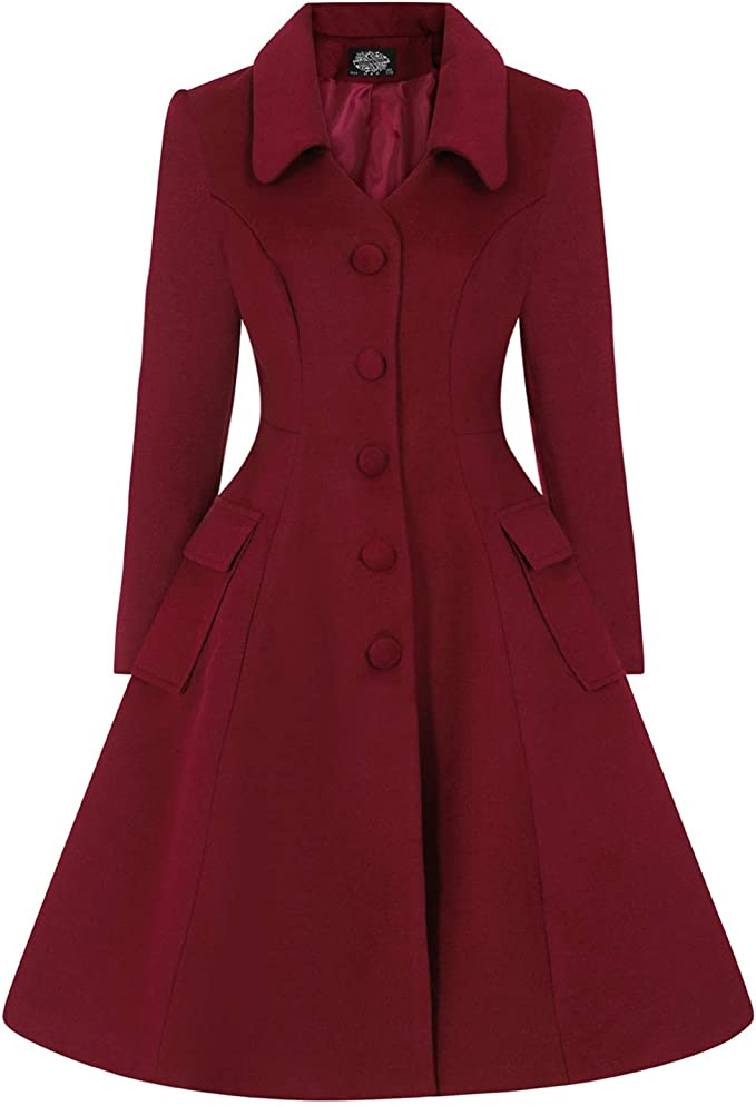 1950s Jackets, Coats, Bolero | Swing, Pin Up, Rockabilly Hearts and Roses London Rosa Vintage Retro 1950s Burgundy Red Smart Career Coat £74.99 AT vintagedancer.com