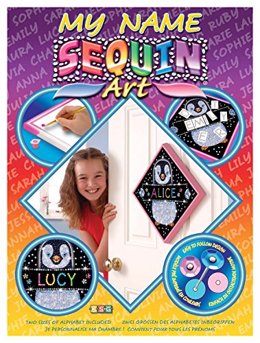 Sequin Art My Name, Penguin, Personalized Name Sparkling Arts and Crafts Picture Kit, Creative Crafts -