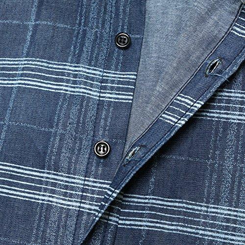 Button Shirts Fashion Long Work Shirt Formal Sleeve Business Shirts 090 Casual Casual Slim Men Tops Dress Fit Shirt Blue 0dqxwR0