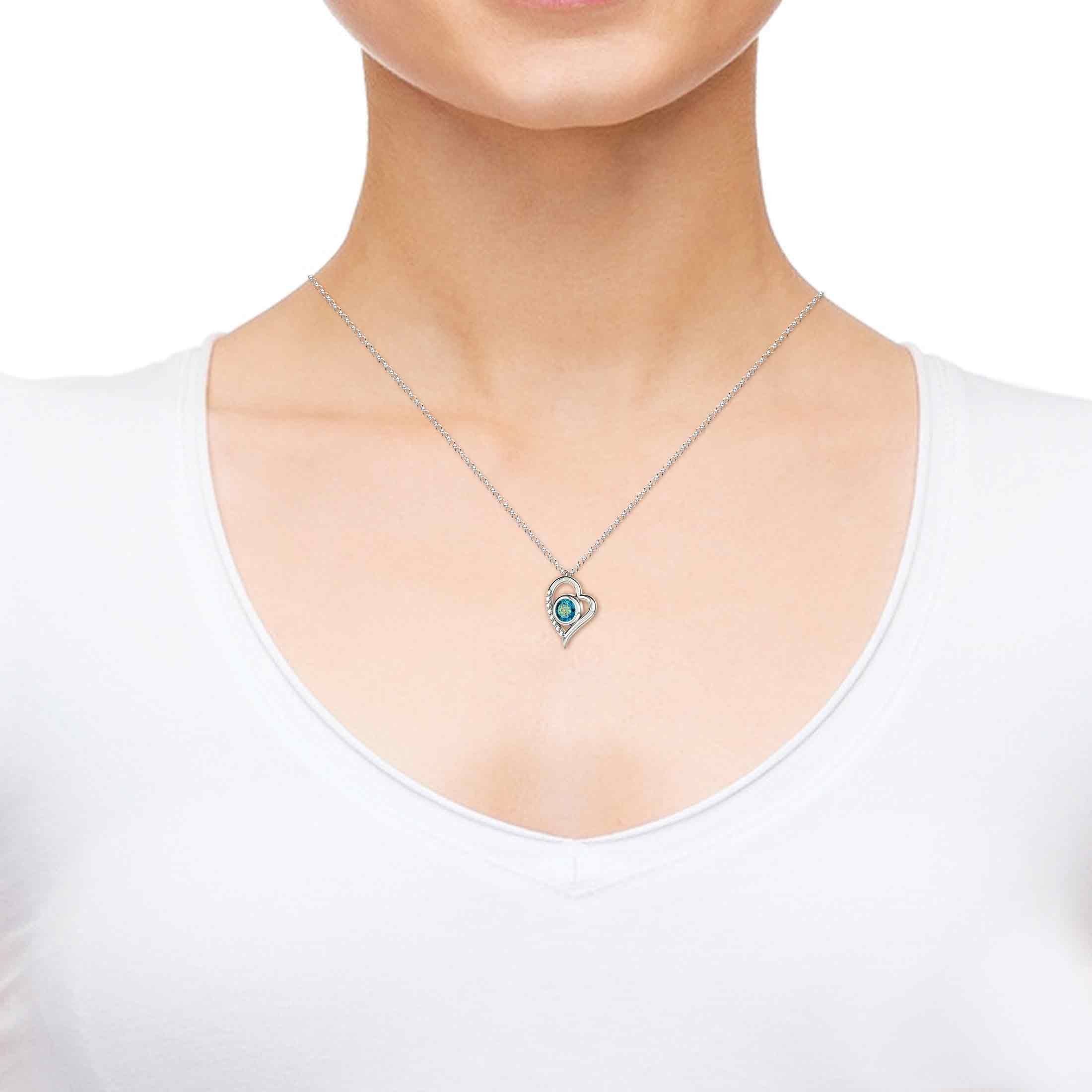 925 Sterling Silver Heart Pendant Necklace I Love You 12 Languages 24k Gold Inscribed Blue Crystal, 18'' by Nano Jewelry (Image #4)