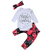 Baby Girls Little Sister Bodysuit Tops Floral Pants Bowknot Headband Outfits Set (6-9 Months, 2-Day Shipping)