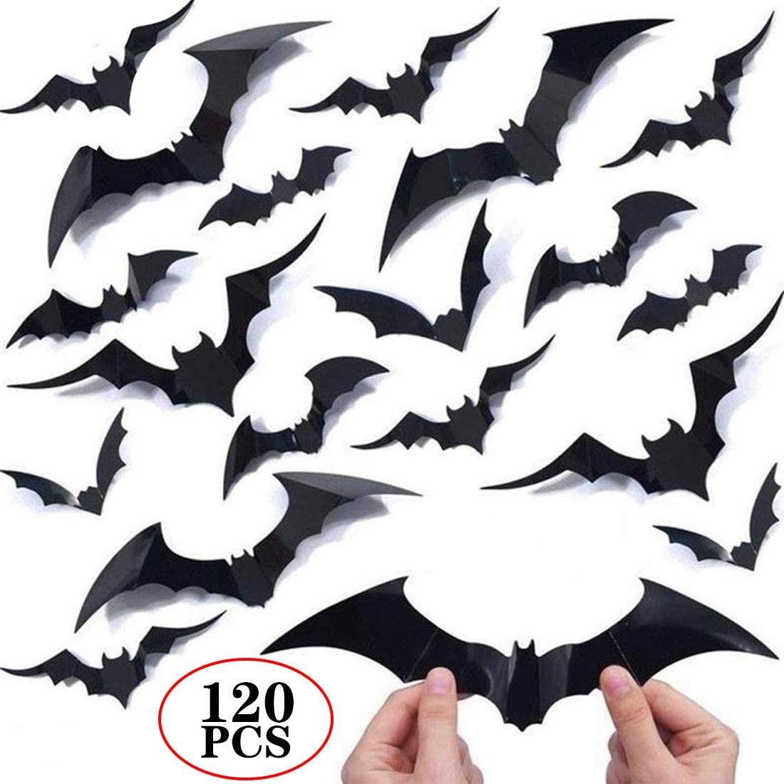 120PCS/4SIZE 3D Bats Sticker DIY Halloween Party Supplies Reusable Decorative Scary Wall Decal for Home Window Clings Decorations