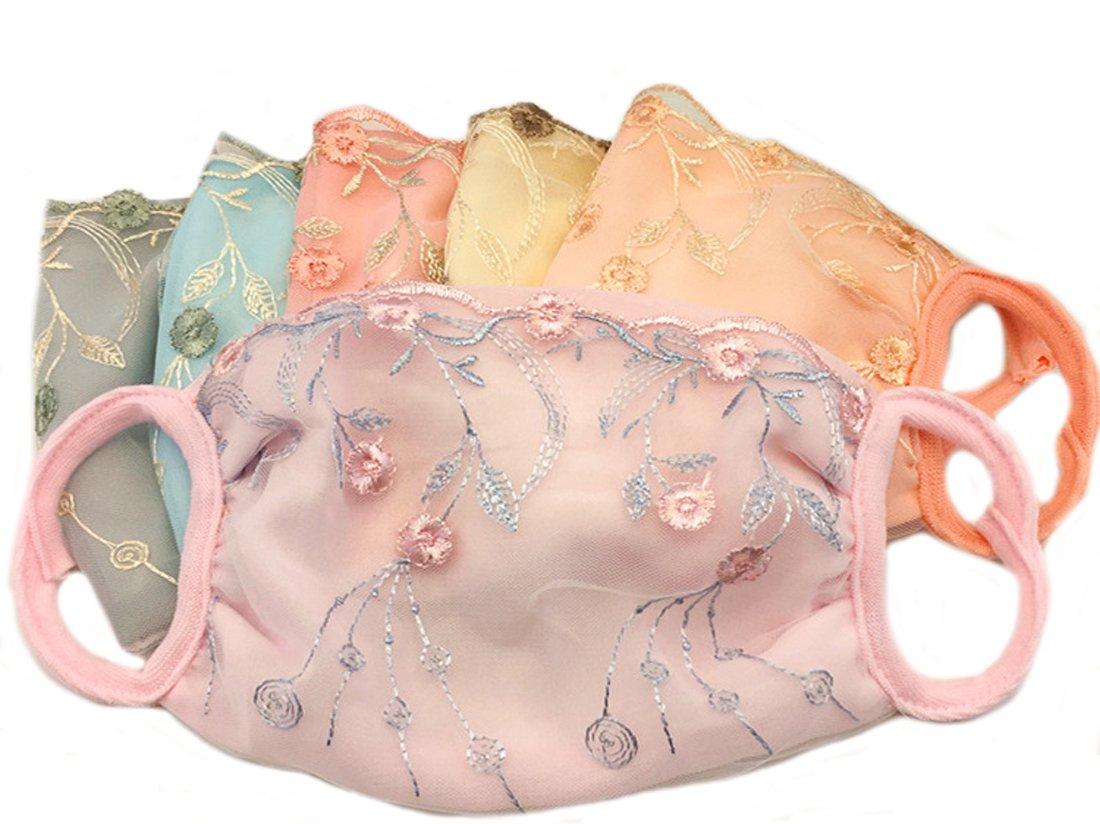 Ewandastore 5 Pcs Flower Print Lace Cotton Blend Anti Dust Sun Protection Earloop Face Mouth Masks Thin Masks