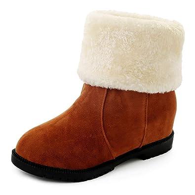25b94043e2d3c6 Stiefeletten Damen mit Absatz Warm Gefüttert Winterschuhe Wildleder Stiefel  Mode Plateau Kurzschaft Boots Schwarz Rot Braun