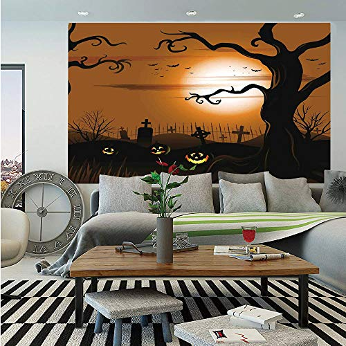 SoSung Halloween Decorations Removable Wall Mural,Leafless Creepy Tree with Twiggy Branches at Night in Cemetery Graphic,Self-Adhesive Large Wallpaper for Home Decor 66x96 inches,Brown Tan -
