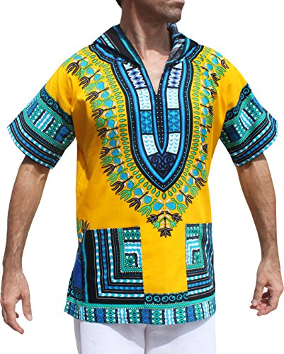Full Funk Dashiki Light Hoody In Bright Colors Festival Party Shirt Short Sleeve, X-Large, Buff Yellow by Full Funk
