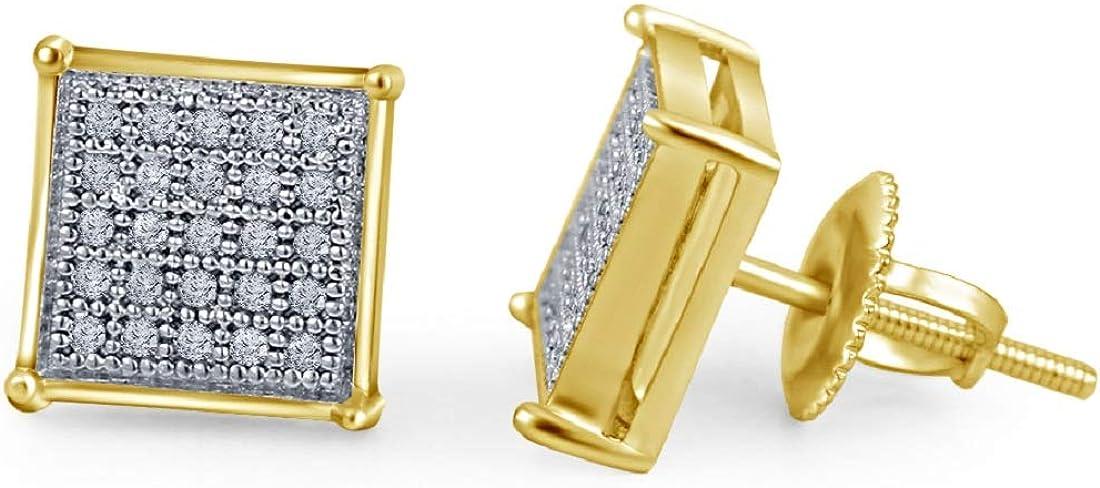 Lilu Jewels Boucles doreilles /à tige en argent 925 plaqu/é or 14 carats avec diamant v/éritable carr/é