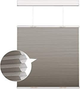 Cordless Cellular Shades Honeycomb Blinds, Silver Grey Light Filtering Top Down and Bottom Up Window Blinds, Custom Honeycomb Shades for Windows, Doors, French Doors, Sliding Glass Doors, Kitchen