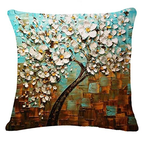 Linen Throw Pillowcases, Kimloog Tree Leaves Sofa Bed Car De