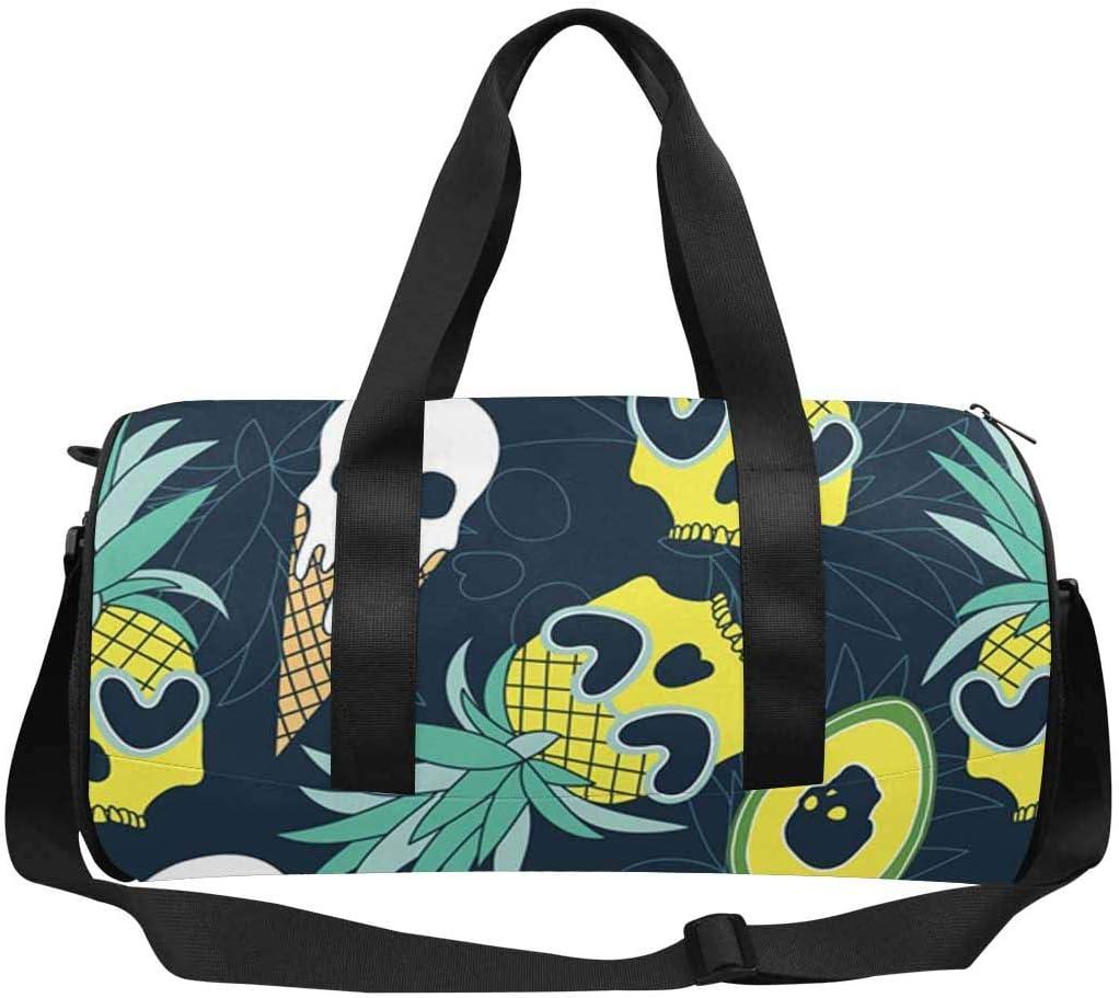 INTERESTPRINT Pineapple Ice Cream Avocado Travel Duffle Bag Sports Lightweight Luggage Duffel