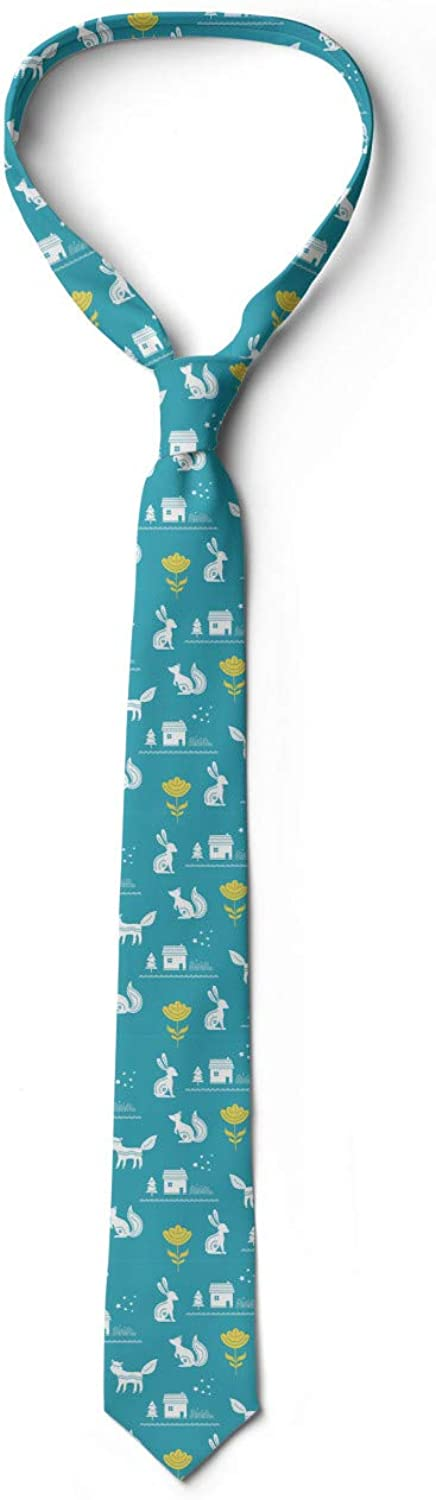 Scandinavian Doodle Folk Art Foxes and Squirrels Flowers Nordic Ambesonne Forest Necktie Sea Blue Mustard and White 3.7
