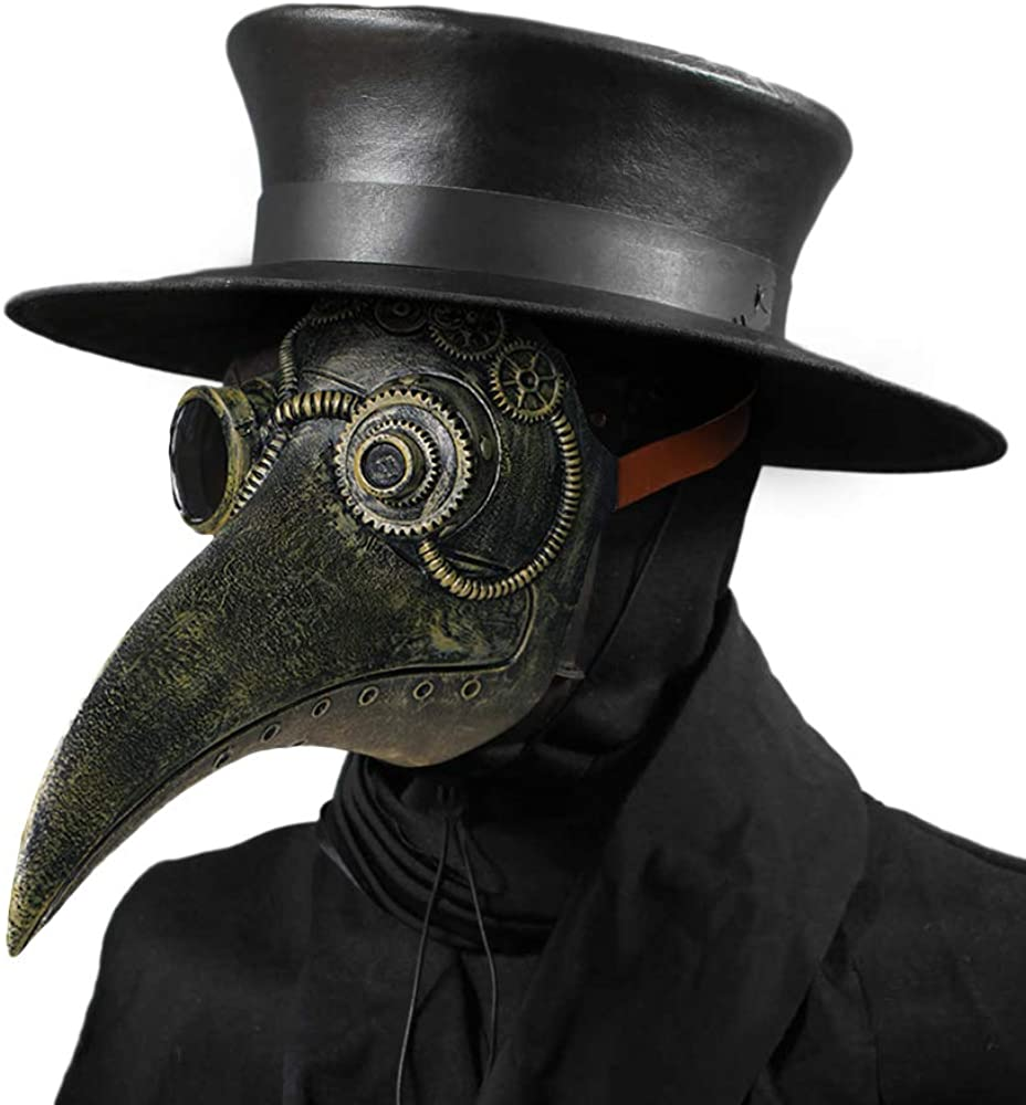 Plague Doctor Leather Black Mask Cosplay Steampunk Halloween Costume Goth Masquerade Carnival Party Burning Man Renaissance Crow