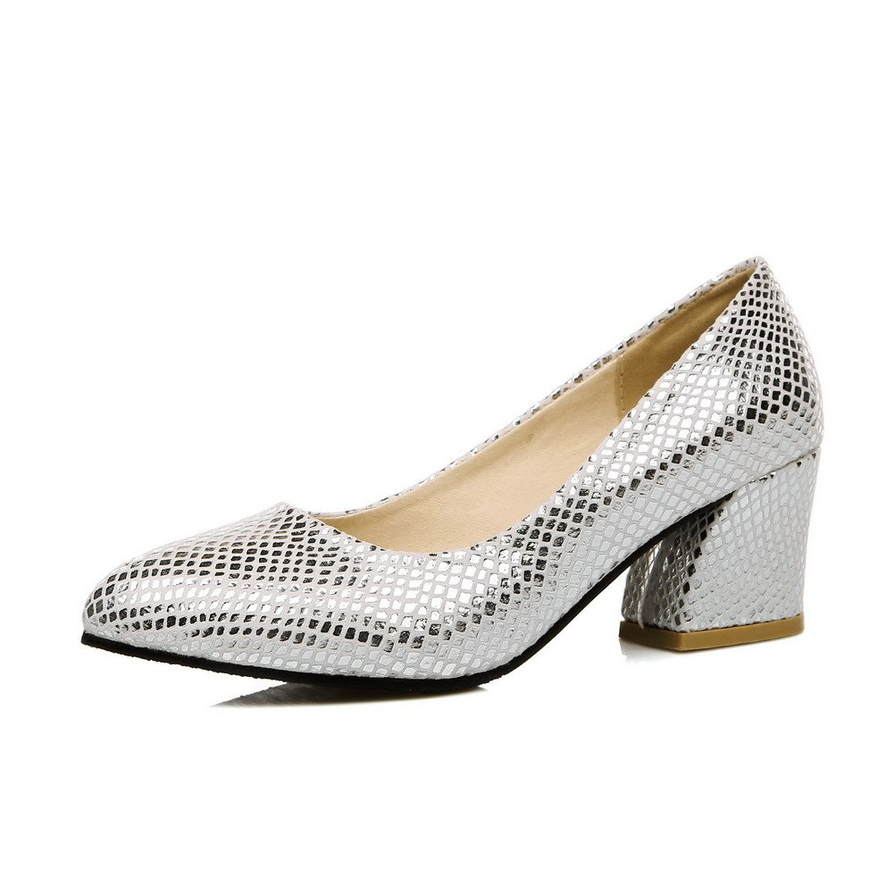 WeenFashion Women's Pull On Kitten Heels Blend Materials Solid Pointed Closed Toe Pumps-Shoes, Silver, 41