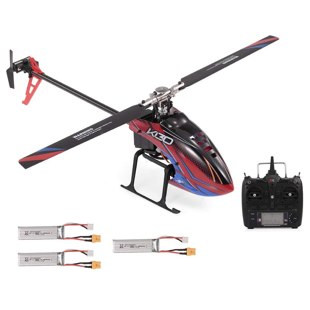 GoolRC WLtoys XK K130-B RCヘリコプター ブラシレス3D6Gフライバーレス FUTABA S-FHSS スタント 飛行機 (リモートコントローラー付&3*バッテリー付) B07RVJVM82  3*電池付、1*送信機付