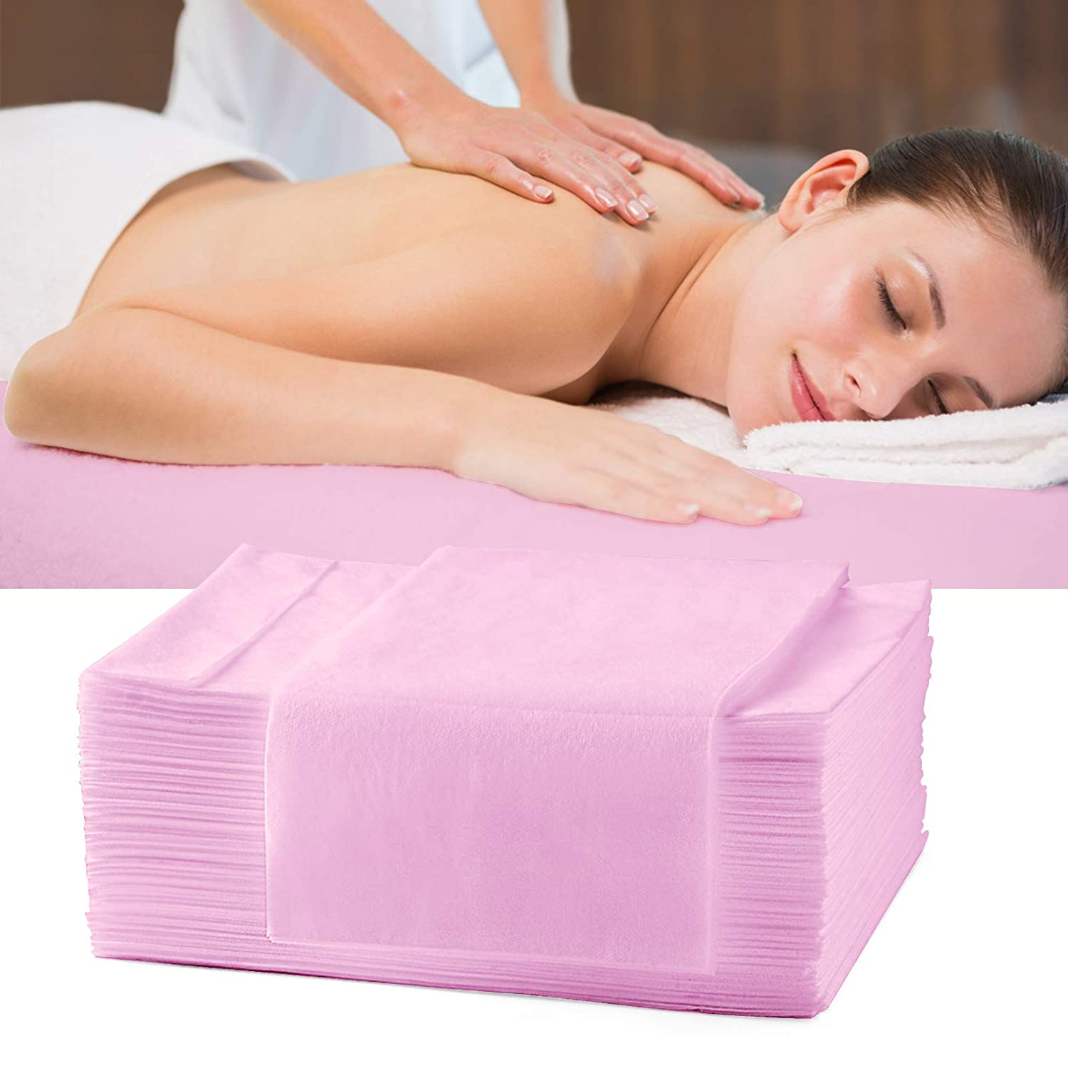 AMZGIRL 25pcs Disposable Bed Sheet Massage Table Sheet Waterproof Non Woven Fabric Breathable Bed Cover for SPA Tattoo Hotels Beauty Salon 31in71in (Pink)