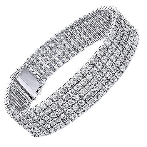 omega jewellery Sterling Silver Round Diamond 5 Row Tennis Bracelets For Unisex (1.50 Ct) (White Omega Bracelet)