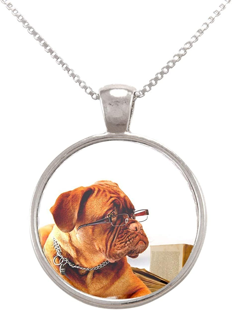 Arthwick Store Funny Photograph of a Dog Reading a Book with Glasses Pendant Necklace
