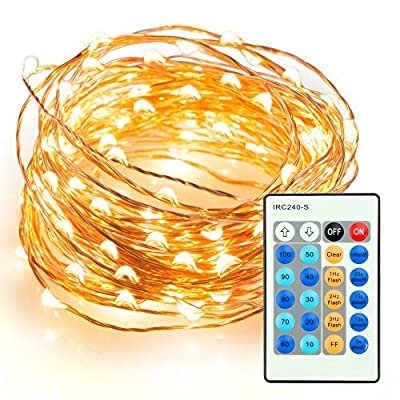 Remission Outdoor String Lights, Dimmable LED String Lights for Bedroom, Patio, Party, Christmas Tree, Decorations (100 LEDs, 33 ft Copper Wire, Warm White, Remote Control )