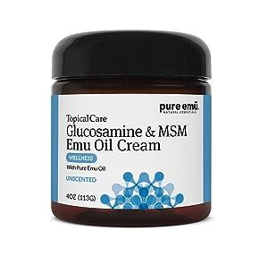 Pure Emu Glucosamine & MSM Emu Oil Cream| Topical Cream Infused with Pure, Fully Refined Emu Oil | Unscented, Gentle Moisturizer, 4 oz (7773)