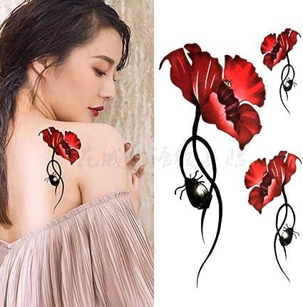 Flor roja Body Art impermeable tatuajes sexy temporales para mujer ...