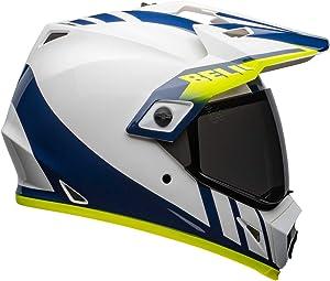 Bell MX-9 Adventure MIPS Full-Face Motorcycle Helmet (Dash Gloss White/Blue/Hi Viz, Large)