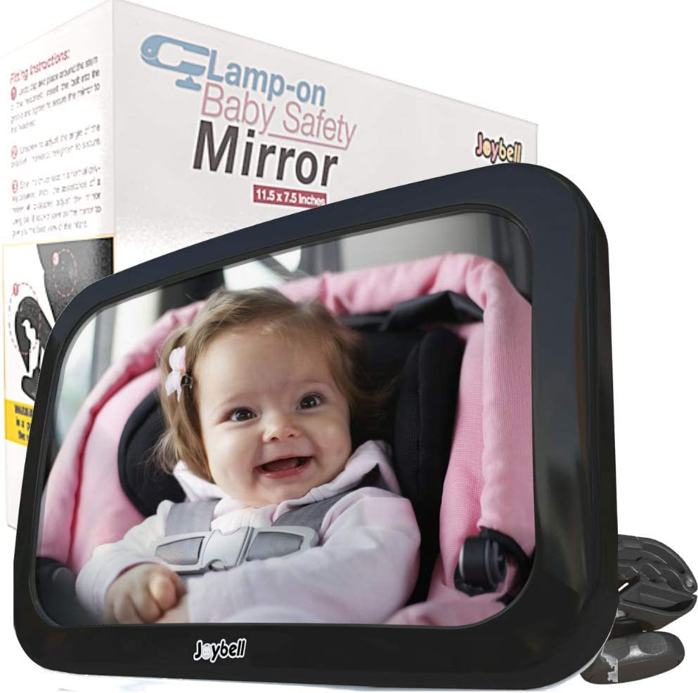Clamps to Sturdy Post Extra Large| Adjustable to See Baby in Back Seat No Risky Straps Joybell ONLY Safe Baby Car Mirror for Car Seat Rear Facing