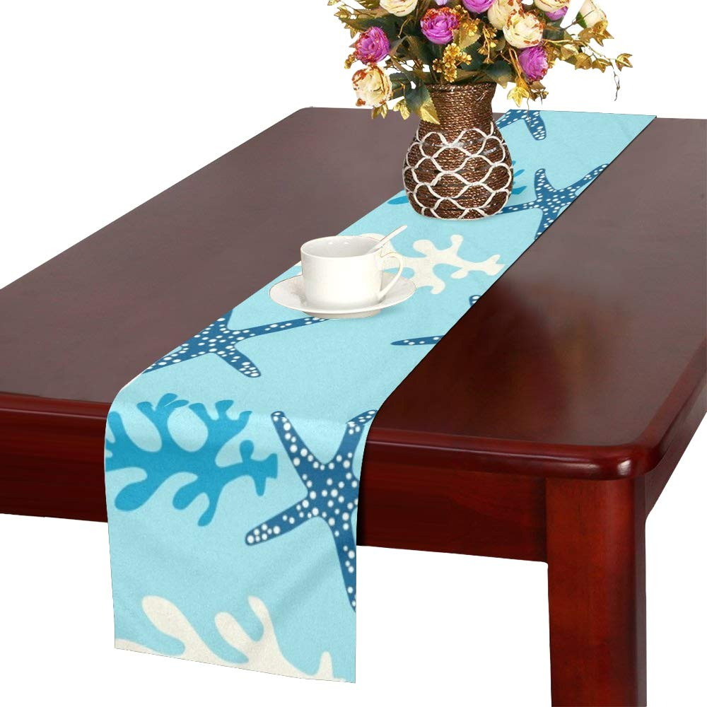 Coral Reef Starfish Underwater Table Runner, Kitchen Dining Table Runner 16 X 72 Inch for Dinner Parties, Events, Decor