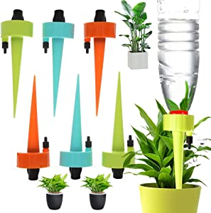 Automatic Plant Self Watering Devices Spikes Irrigation Drippers with Slow Release Control Valve Switch for Vacation to Care Your Home Plants, Flower beds, Vegetable Gardens, Lawn (12PCS)