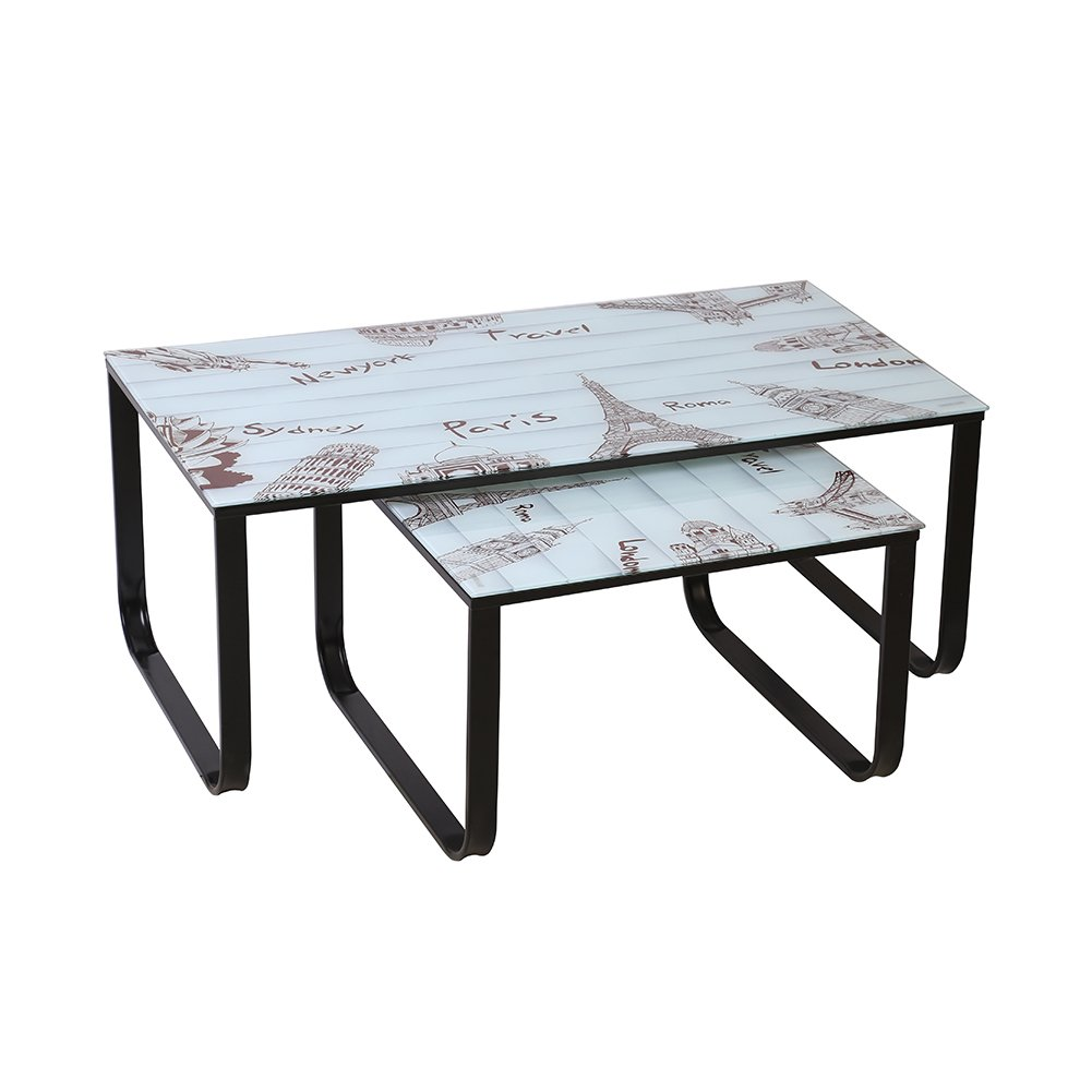 CLIPOP Nest 2 Tables Nesting Tables Modern Coffee Table End Side Table Metal Frame Glass Top Living Room Furniture (Heart-Shape)