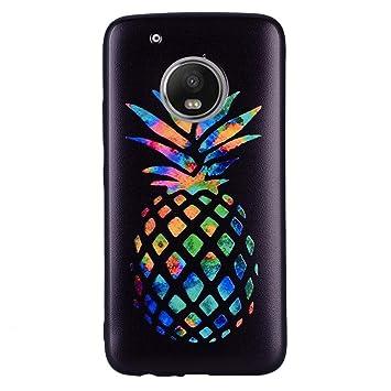 Wanxida Funda Motorola Moto G5 Plus, Carcasas Suave TPU Silicone/Funda Ultra Delgada/Caso Anti Rasguños Anti Choque con un Diseño Único-Piña de ...