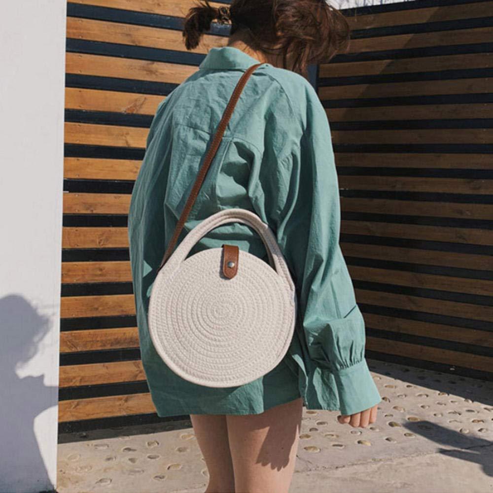 Dwqlx Rund axelväska för kvinnor bomullsrep vävd handväska bohemiskt halm strandväskor handgjord kvinnlig kurirväska – A a