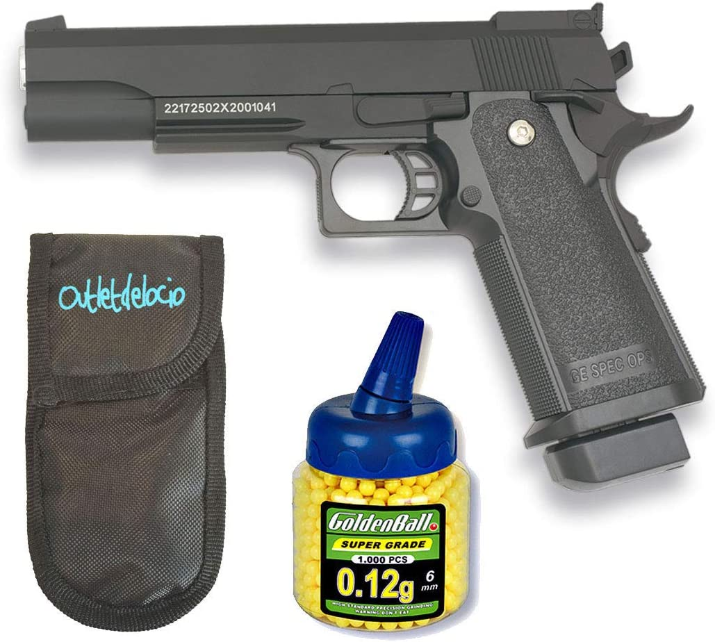 GOLDEN EAGLE Pistola Airsoft 1911. Calibre 6mm + Funda Portabalines + 1000 Bolas. 21993/23054