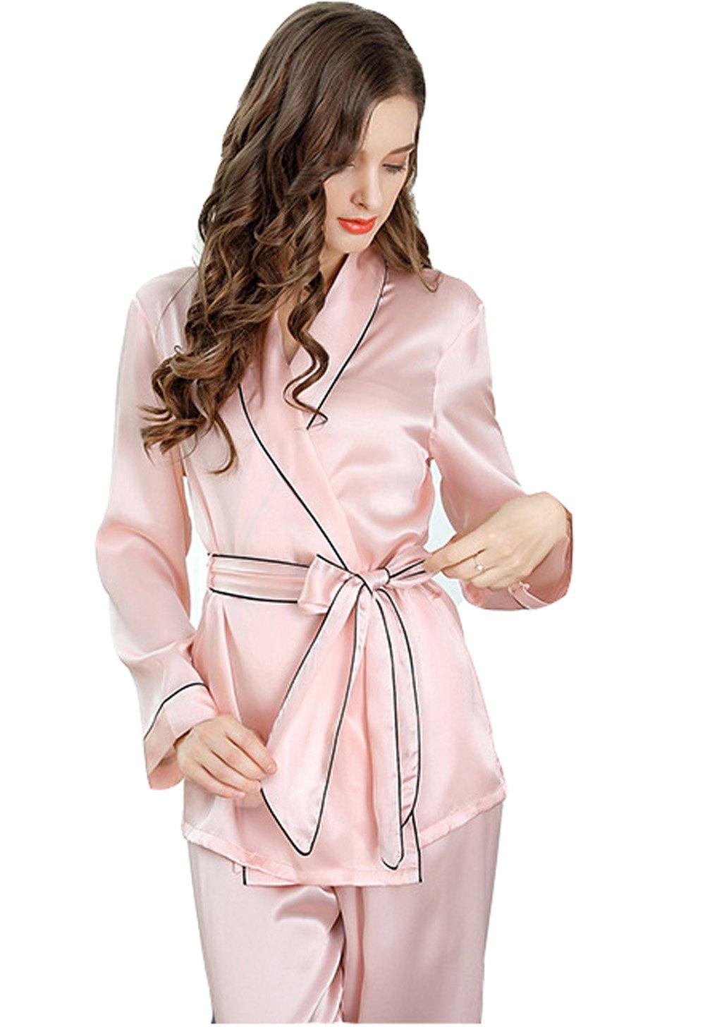 Sunshine Fashion and Simple Silk Long Sleeves Lingerie Pajamas,Silk Nightgown Sleepwear Sets(2 Pieces)