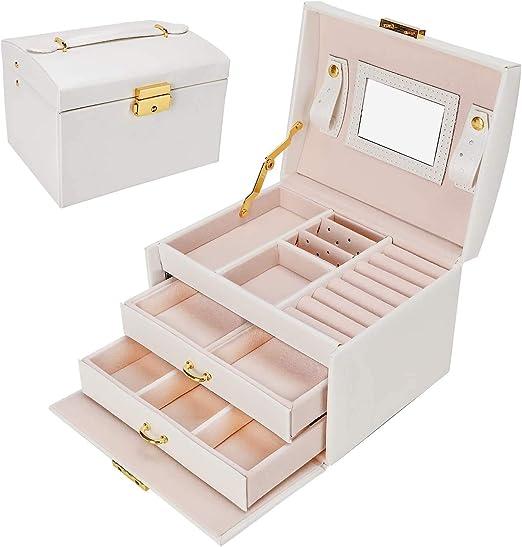 Gifort Caja Joyero, Caja para Joyas con Espejo y Cajones Estuche de Joyas con Cerradura para Pendientes, Collares, Pulseras, Relojes: Amazon.es: Hogar